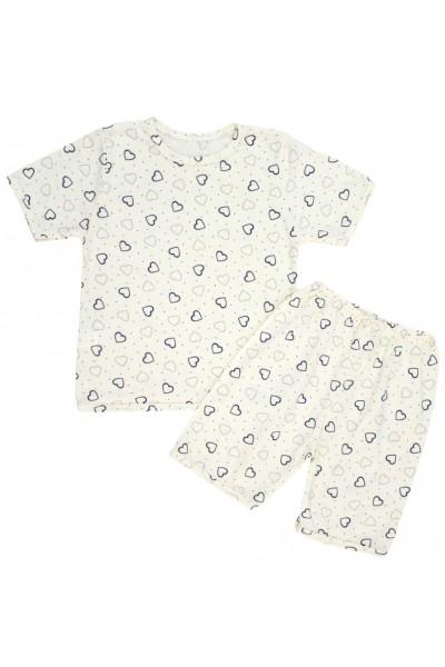 pijamale copii bumbac subtire galben inimioare