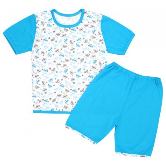 pijamale copii bumbac subtire imprimeu masinute turcoaz