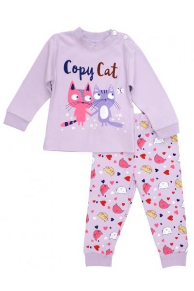 Pijamale copii bumbac premium mov copy cat