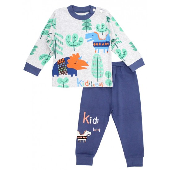 Pijamale copii bumbac premium gri-bleumarin dino
