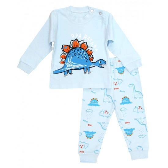 Pijamale copii bumbac premium bleu stegosaurus
