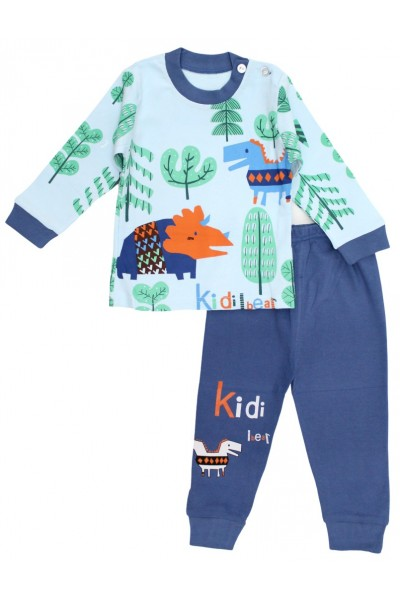 Pijamale copii bumbac premium bleu-bleumarin dino