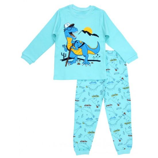 Pijamale copii bumbac premium albastru azur t-rex