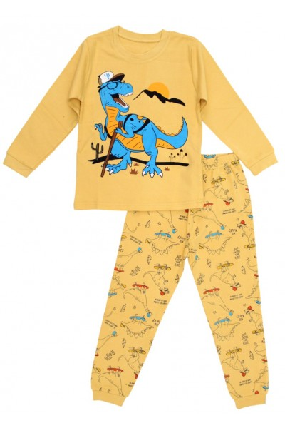 Pijamale copii bumbac premium galben t-rex