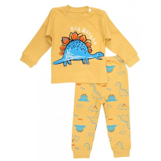 Pijamale copii bumbac premium galben stegosaurus