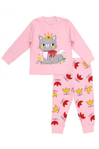 Pijamale copii bumbac premium roz queen cat