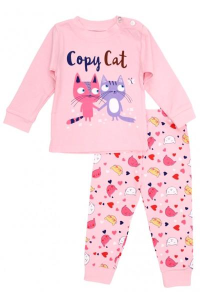 Pijamale copii bumbac premium roz copy cat