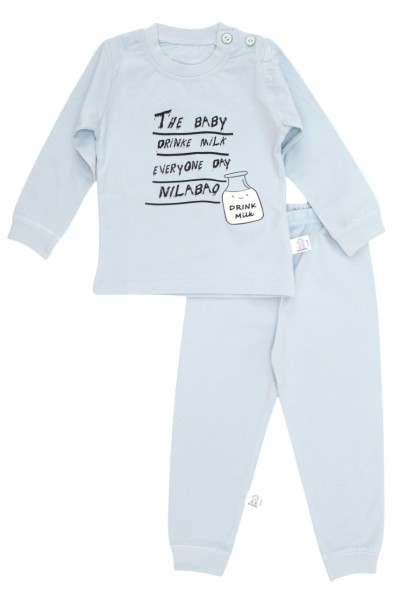 Pijamale copii bumbac premium bleu drink milk