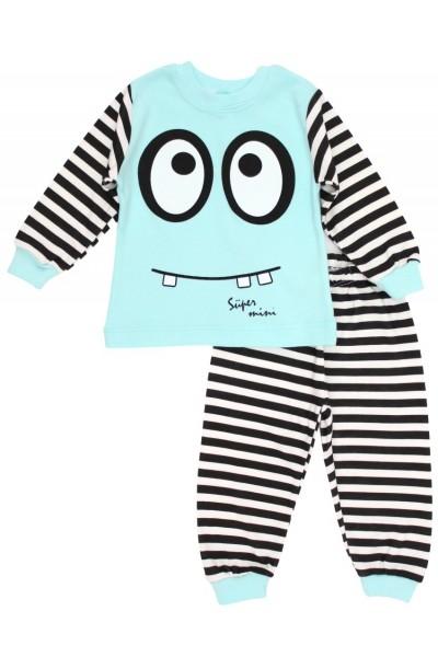 Pijamale copii bumbac supermini azur