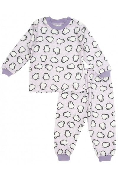 Pijamale copii bumbac pinguini lila