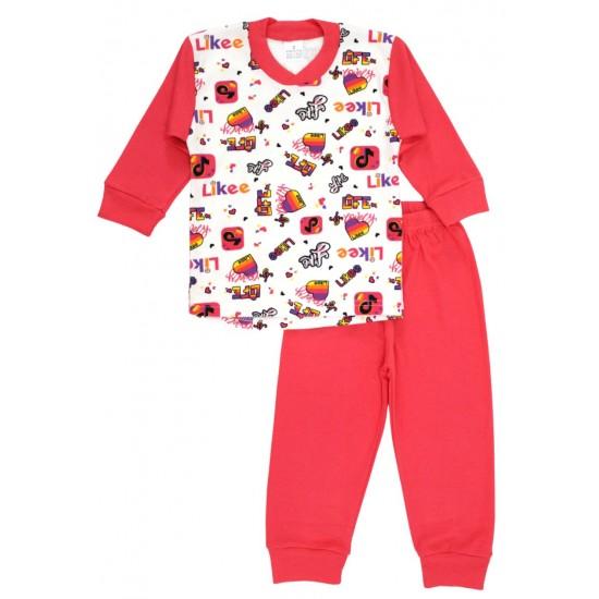 Pijamale bumbac fetite elemente roz