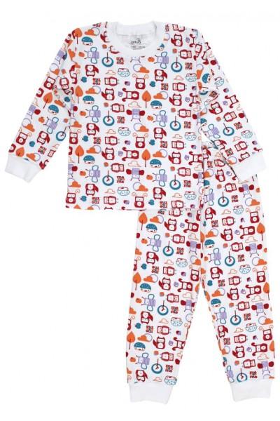Pijamale copii bumbac alba robotei multicolori