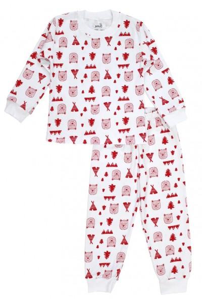 Pijamale copii bumbac alba urs rosu