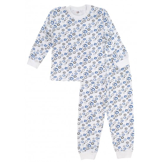 Pijamale copii bumbac alba cerculete albastre