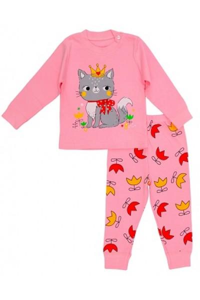 Pijamale copii bumbac premium roz cyclame queen cat