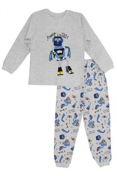 pijamale copii bumbac premium gri robotel