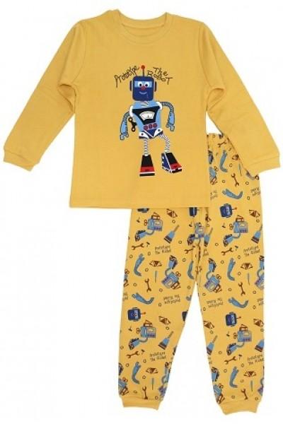 pijamale copii bumbac premium galben mustar robot