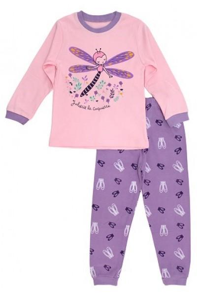 pijamale copii bumbac premium mov libelula mov-roz