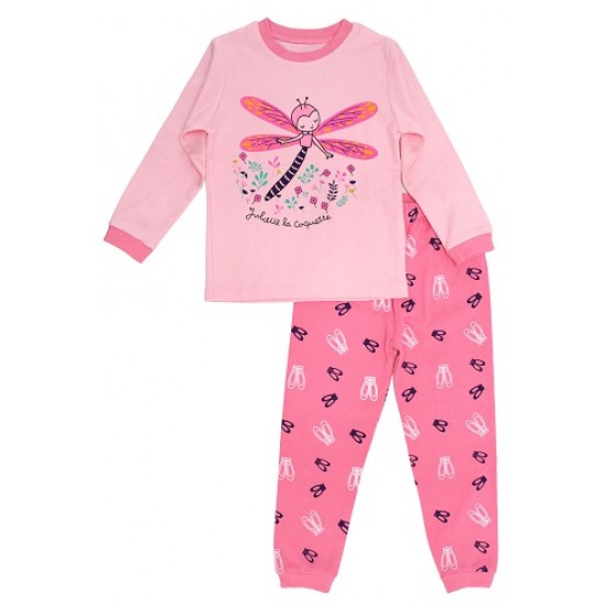 pijamale copii bumbac premium  roz libelula