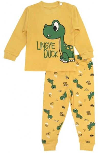 pijamale copii bumbac premium galben mustar dino