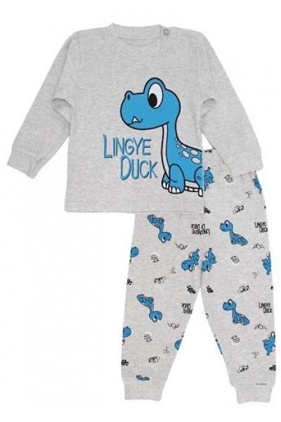 pijamale copii bumbac premium gri dino