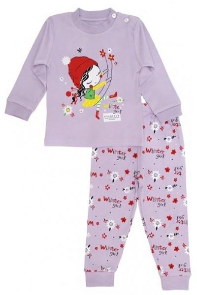 pijamale copii bumbac premium mov fetita