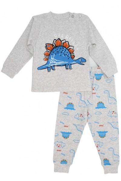 pijamale copii bumbac premium gri stegosaurus