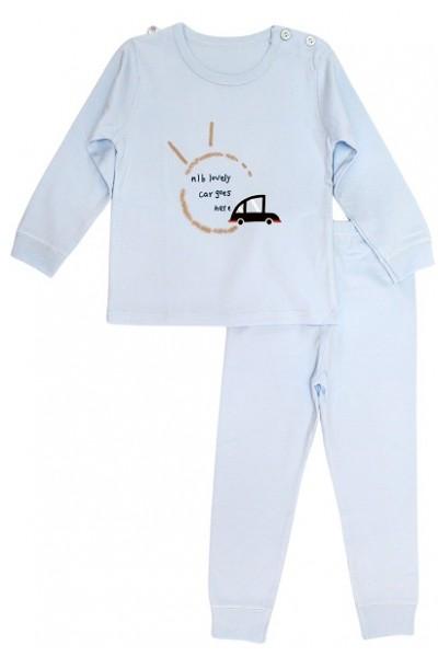 pijamale copii bumbac premium bleu masinuta maro
