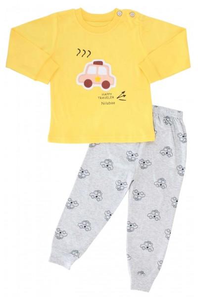pijamale copii bumbac premium galben masina