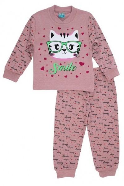 Pijamale copii bumbac pisicuta smile roz prafuit