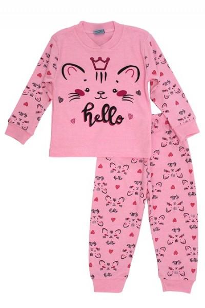 Pijamale copii bumbac pisicuta hello roz