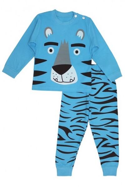 Pijamale copii bumbac premium tigru albastru