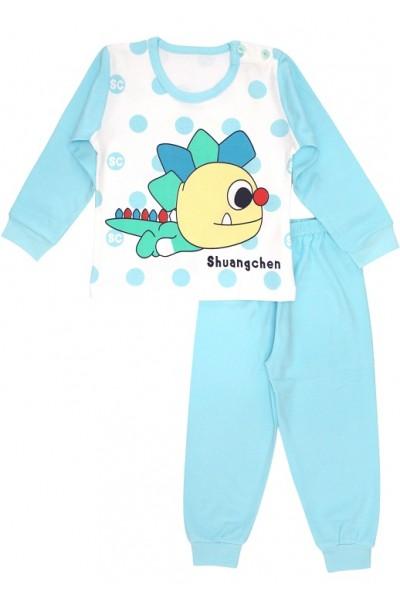 Pijamale copii bumbac premium dino azur