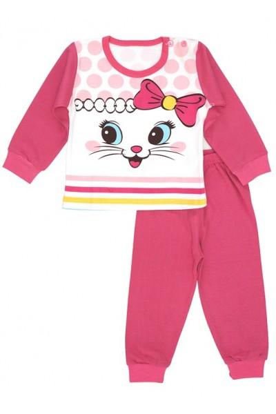 Pijamale copii bumbac premium roz cyclame pisicuta