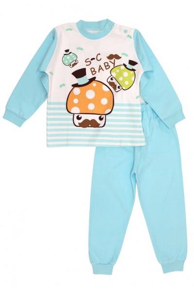 Pijamale copii bumbac premium azur ciupercute