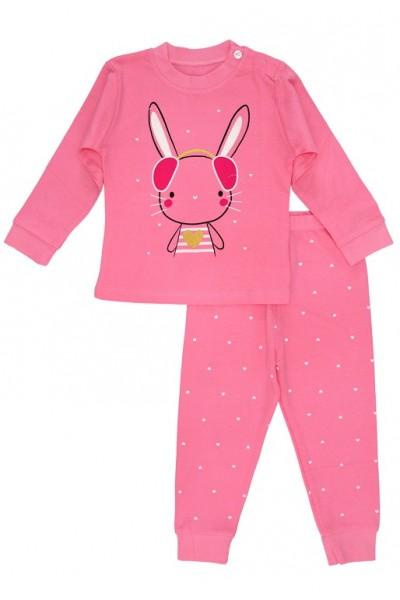 Pijamale copii bumbac premium roz cyclame iepuras inimioare