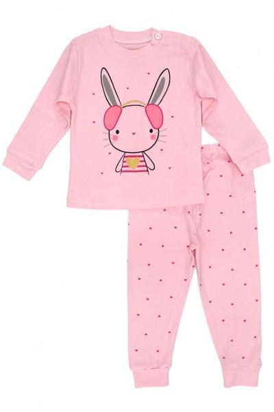 Pijamale copii bumbac premium roz iepuras inimioare