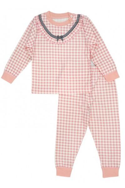 Pijamale copii bumbac premium carouri roz piersica