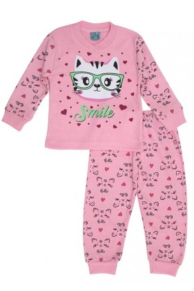 Pijamale copii bumbac pisicuta smile roz
