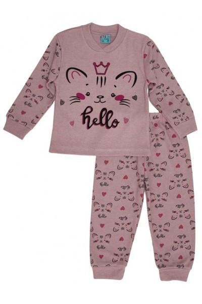 Pijamale copii bumbac pisicuta hello roz prafuit