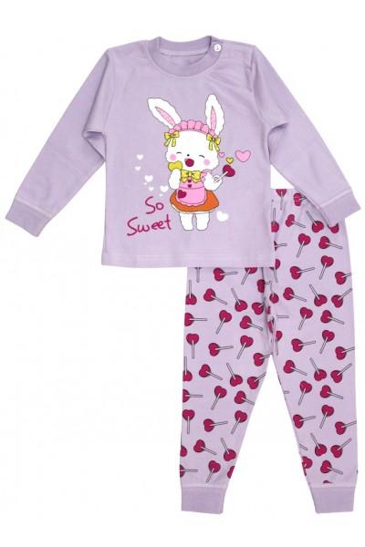 pijamale copii bumbac premium mov iepuras
