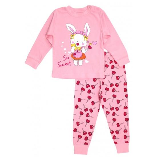 pijamale copii bumbac premium roz iepuras