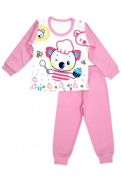 pijamale copii bumbac premium ursulet roz