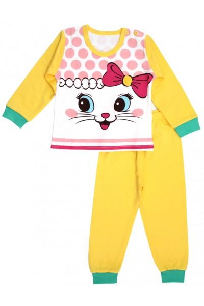 pijamale copii bumbac premium galben pisicuta