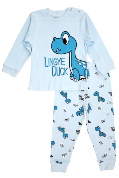 pijamale copii bumbac premium bleu dino