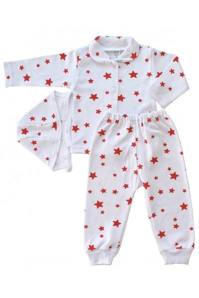 compleu pijamale bumbac stelute rosii