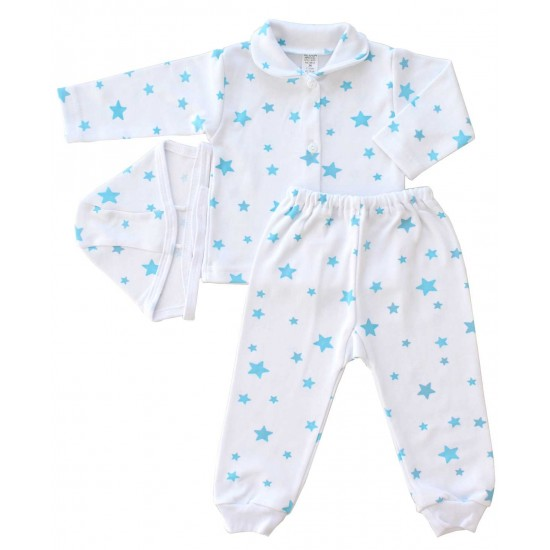 compleu pijamale bumbac stelute bleu
