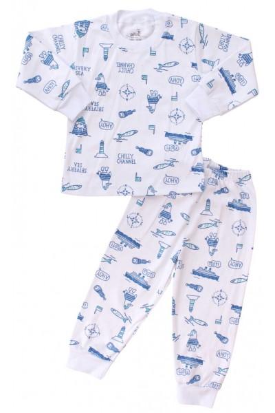 pijamale copii bumbac ahoy albastru
