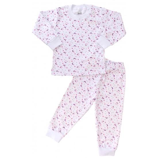 pijamale copii bumbac semilune mov