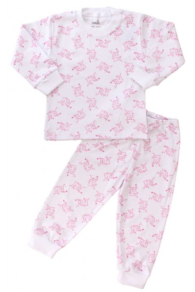 pijamale copii bumbac pisici roz